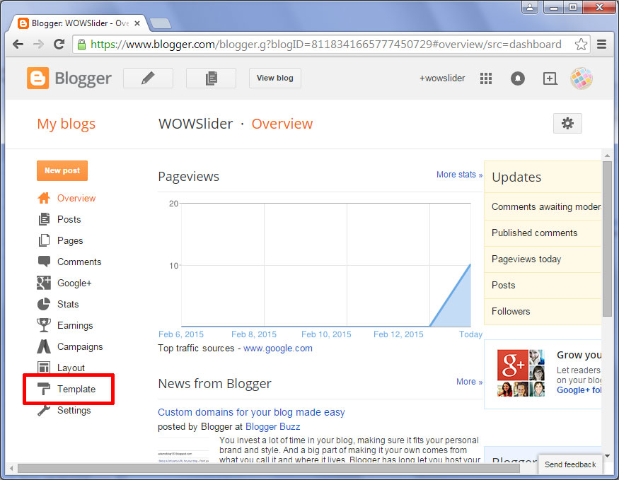 how to add wowslider to blogger