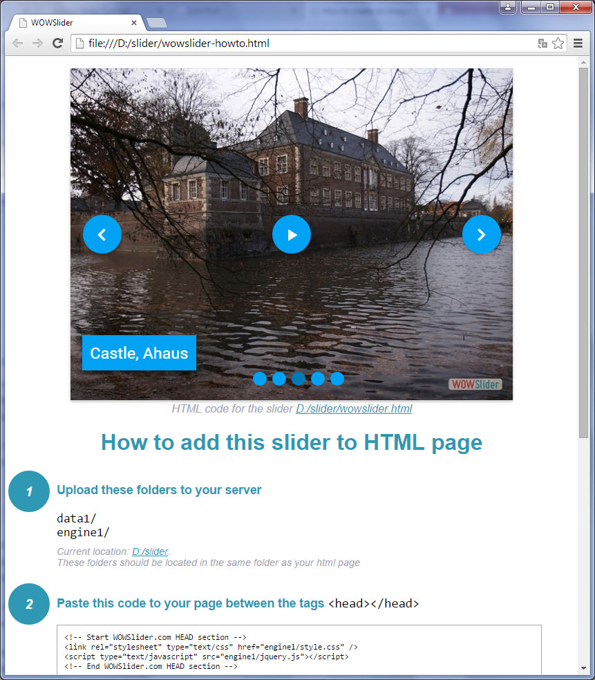 Publish to folder : Image jQuery Slider
