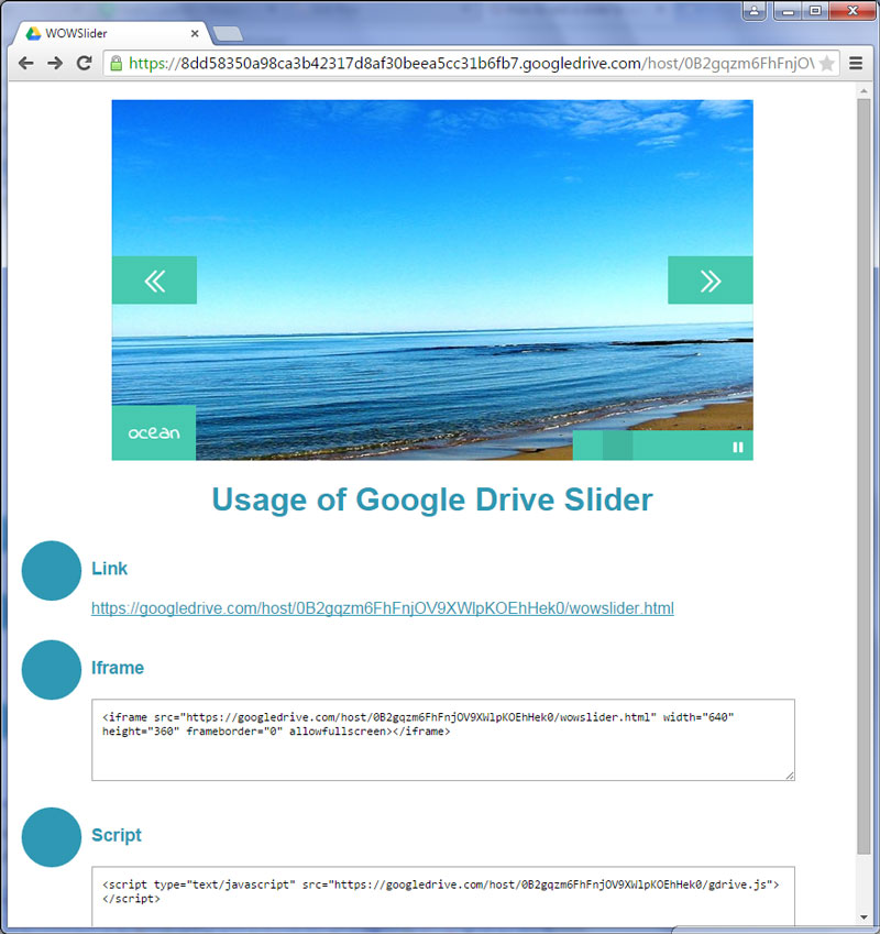 How to add a slider to your site using Google Drive