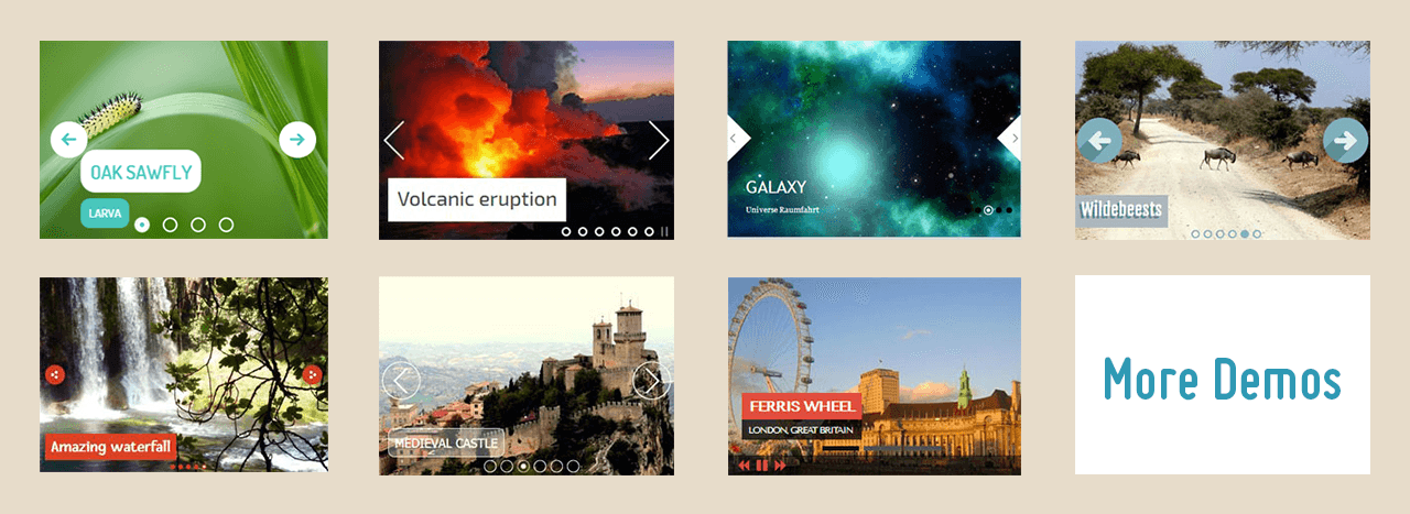 How to embed video in javascript slider with image and text example code