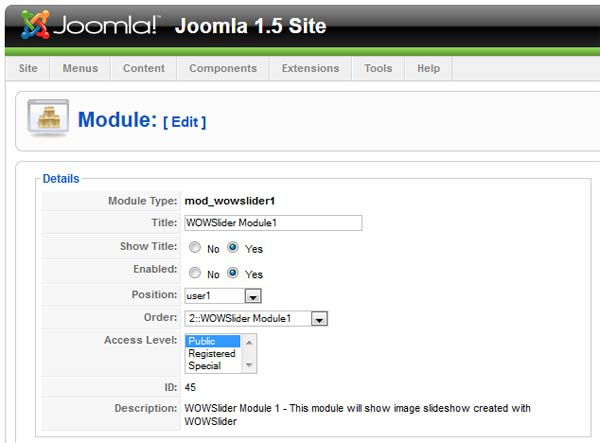 Joomla Settings