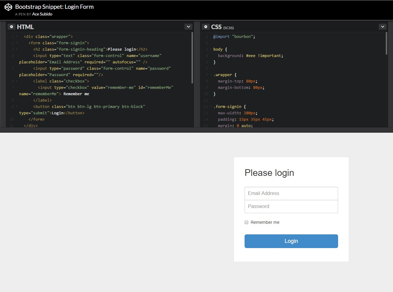 bootstrap login forms code