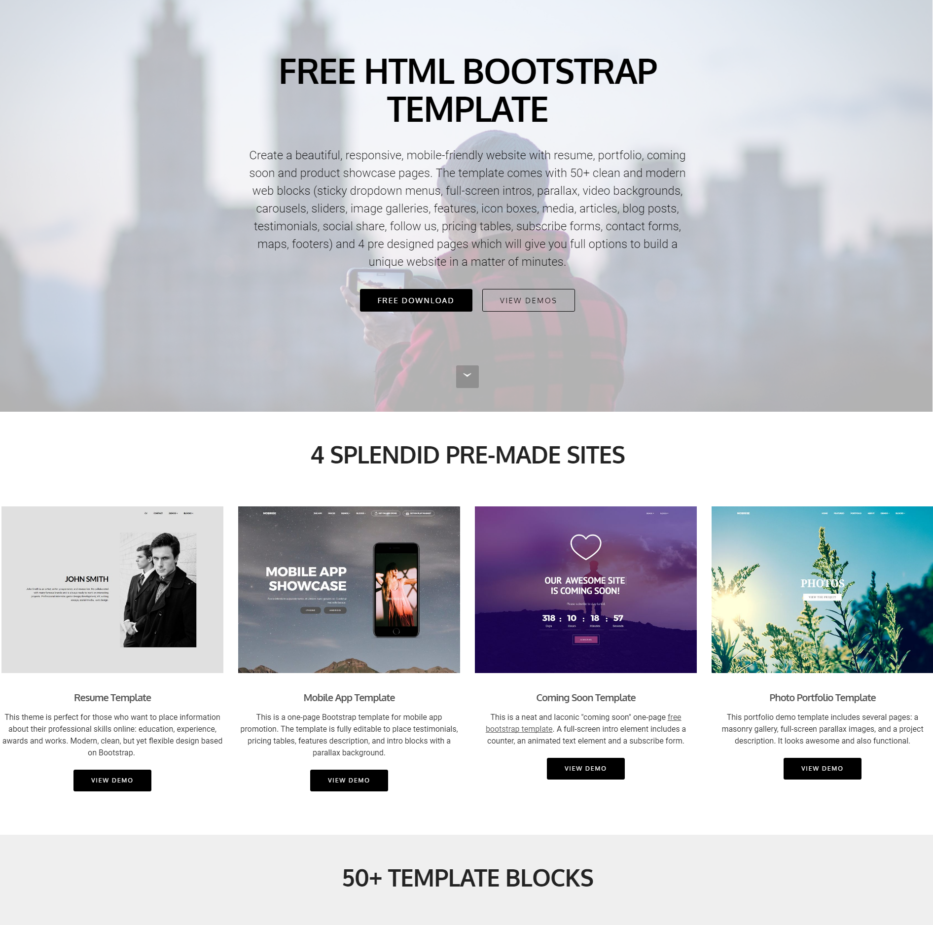 Free Bootstrap Food Template
