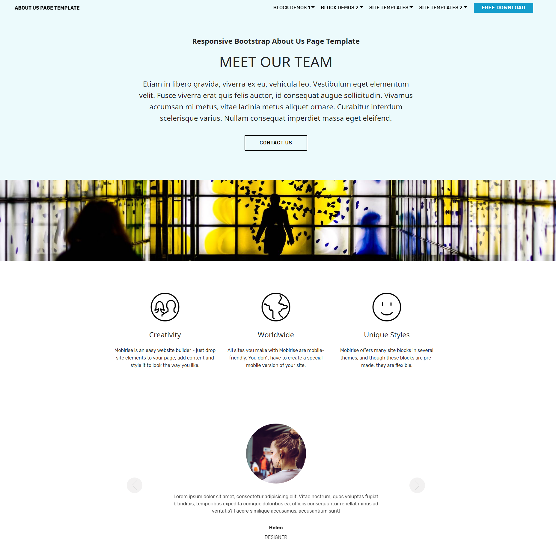 Free Bootstrap About Us Themes Template