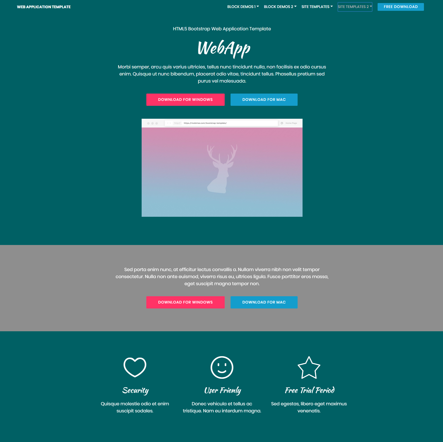 free web application template