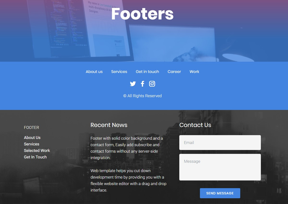 Thesis theme custom footers