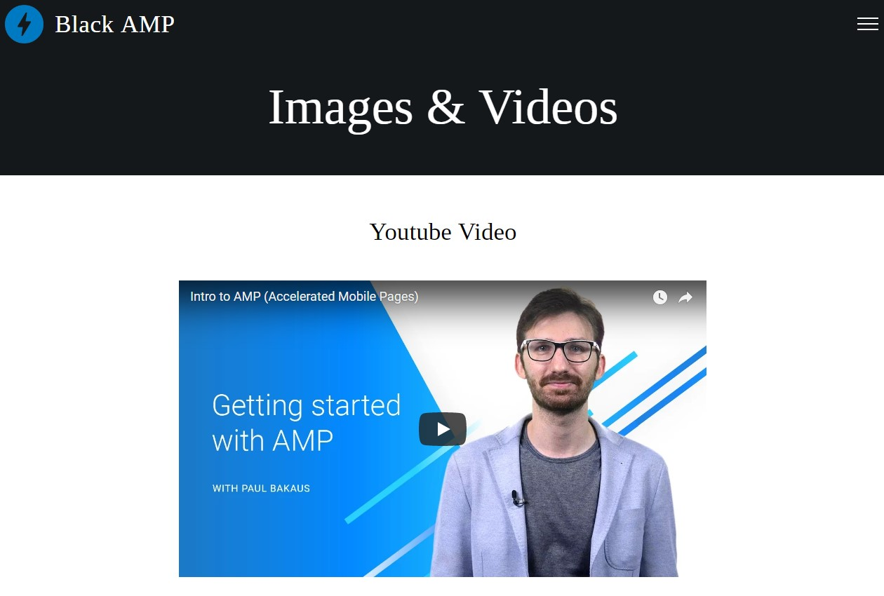AMP HTML Images and Videos Template