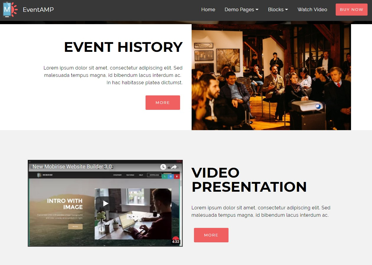 EventAMP HTML Headers Templates