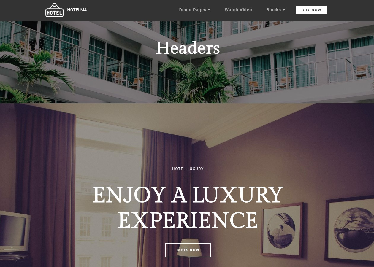 Headers Theme for Hotel Website