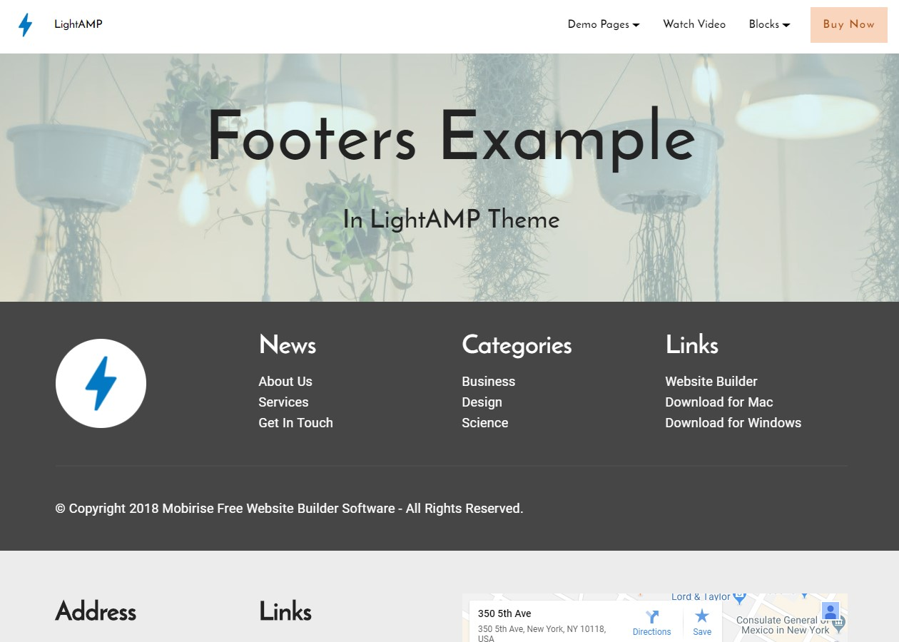 LightAMP HTML Footer Template