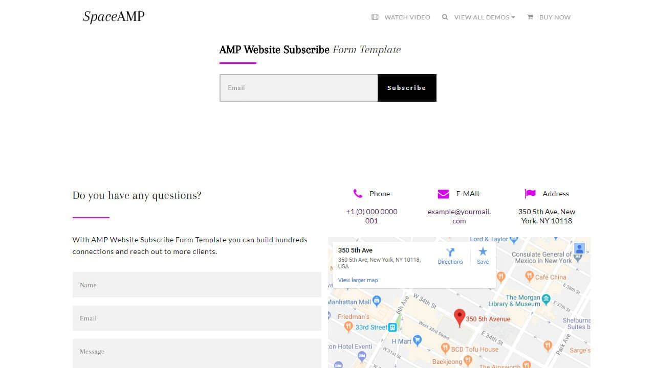AMP Website Subscribe Form Template