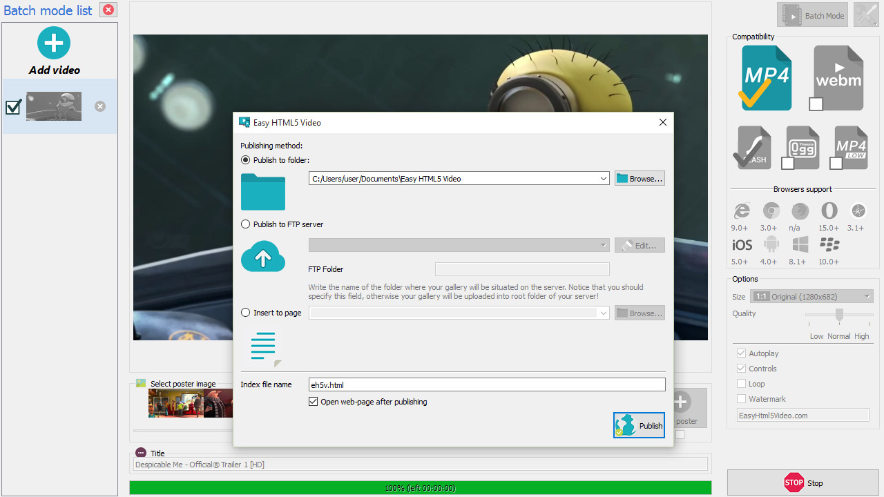 HTML5 video generator