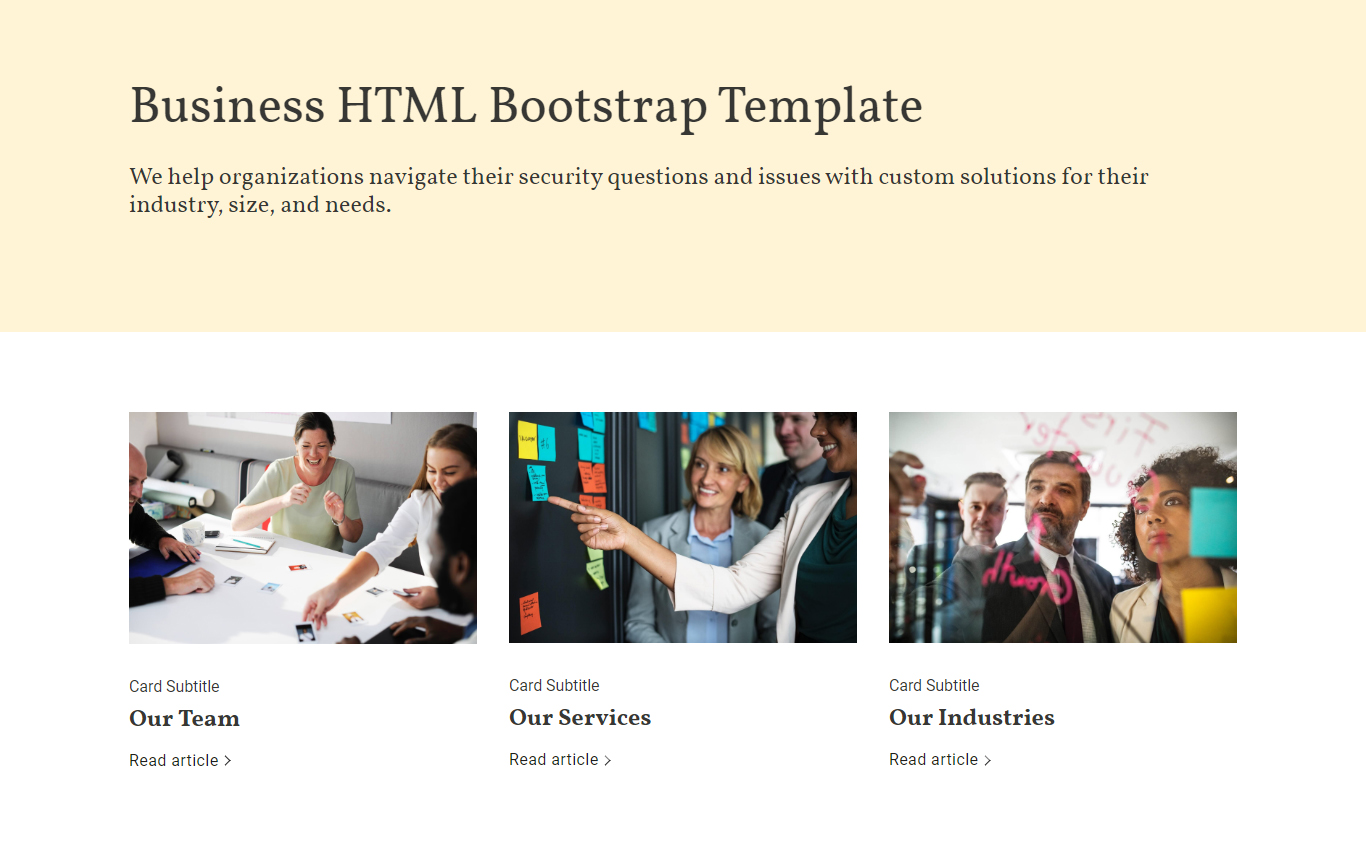 Business HTML Bootstrap Template