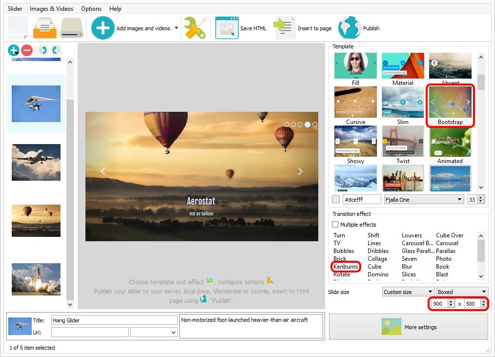 HTML Slider Example