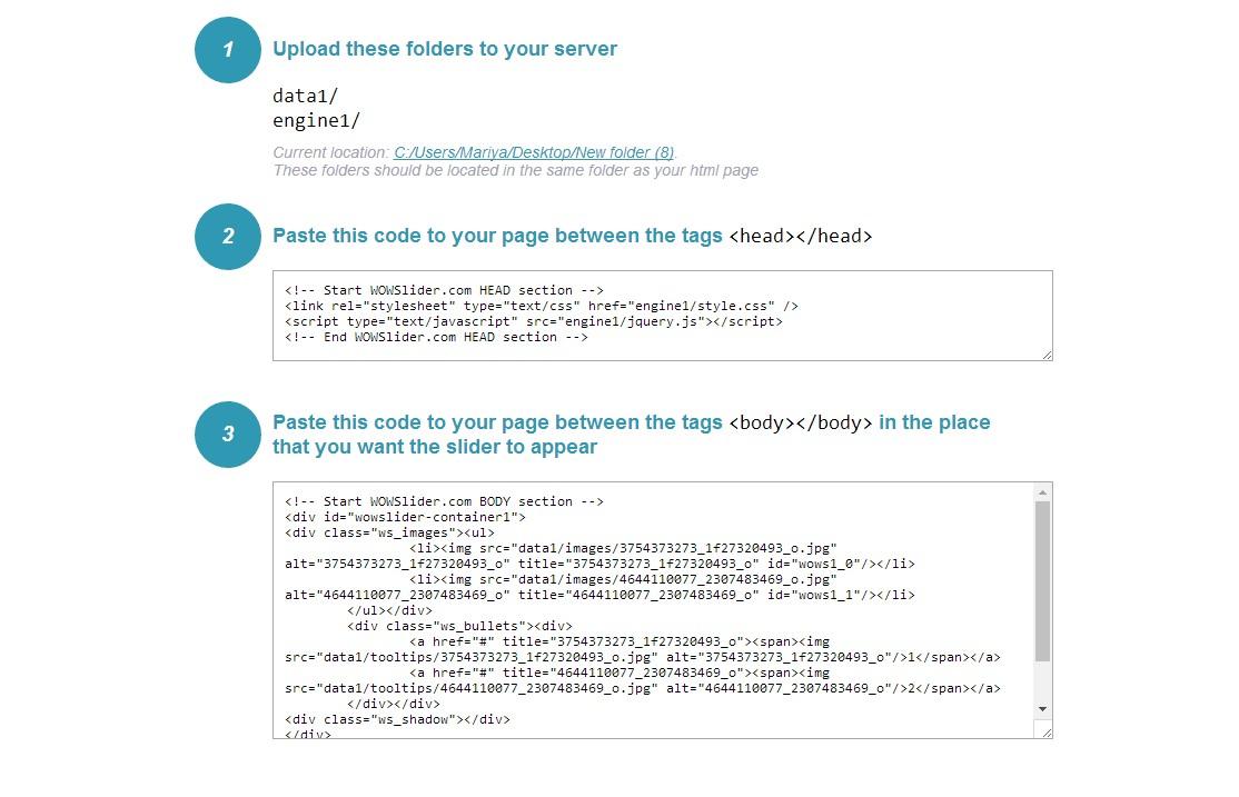 JavaScript Slider Example Code