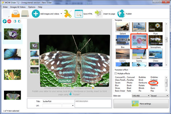 slideshow with 3D transition>